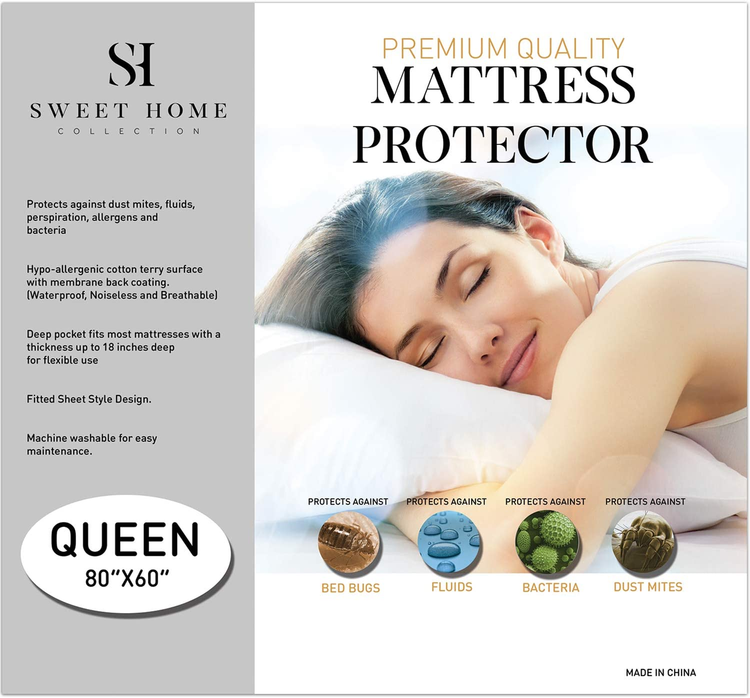 White Dust Mites Allergens Premium Waterproof Mattress Protector King Soft Cotton Bed Guard with Membrane Back Coating Hypoallergenic Mattress Cover Protects Against Bedwetting