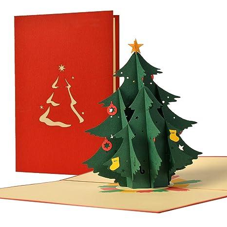 Auguri Di Natale Ai Colleghi Di Lavoro.Biglietto Di Auguri Natalizio Con Pop Up 3d Di Un Albero Di