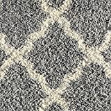 Soft Shag Area Rug 7x10 Moroccan Trellis Grey Ivory Shaggy Rug - Contemporary Area Rugs for Living Room Bedroom Kitchen Decorative Modern Shaggy Rugs