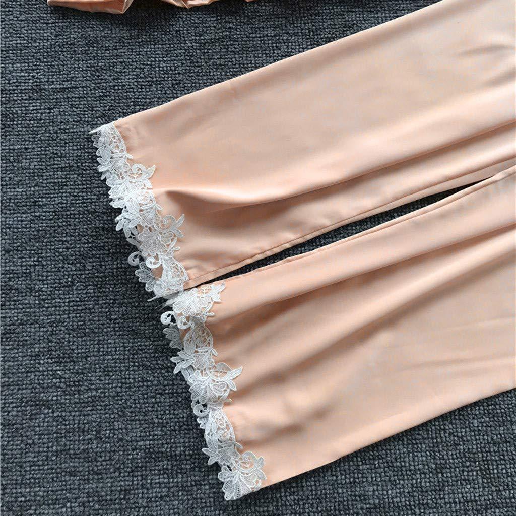 Abiti Set, ❤️ Modaworld 5 PCS Set Camicie da Notte Pantaloni Lunghi Donna Pigiama Raso Seta Indumenti da Notte con Pizzo Canotta