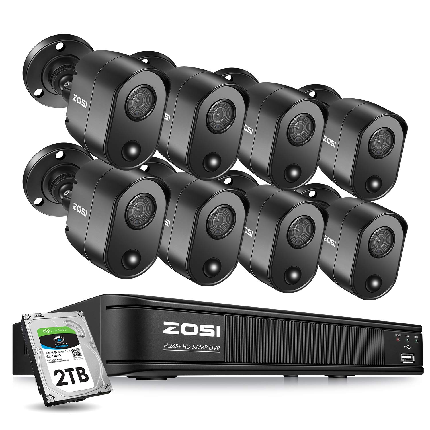 ZOSI 5MP 8 Channel Security Camera System for Home, H.265 CCTV DVR with Hard Drive 2TB and 8 x 5MP Surveillance Bullet Camera Outdoor Indoor with PIR Motion Sensor,Remote Access