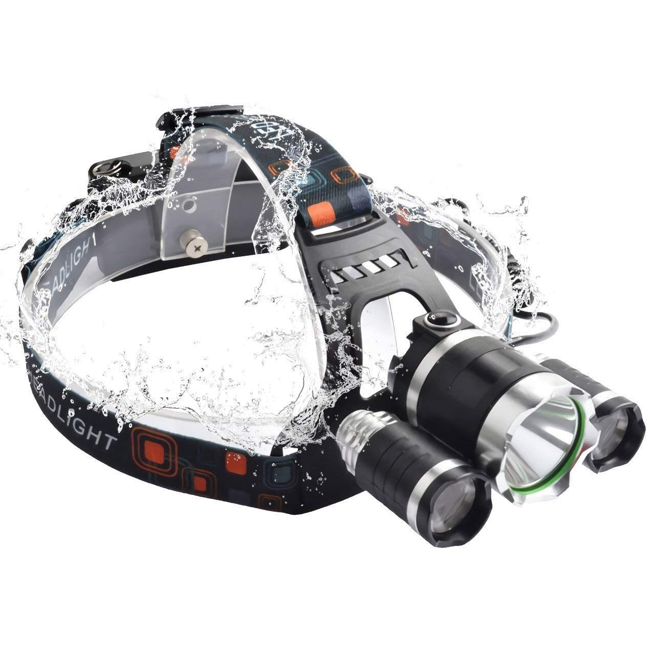 Super Bright LED Headlamp 4 switch modes Waterproof Flashlight Headlight with charger for Camping Riding Reading Rainy Weather Head-mounted Light(with battery& charger)