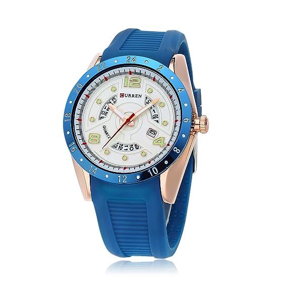 HWCOO 8142 Reloj de Calendario Reloj para Hombre de Goma Big Dial Aliexpress (Color :