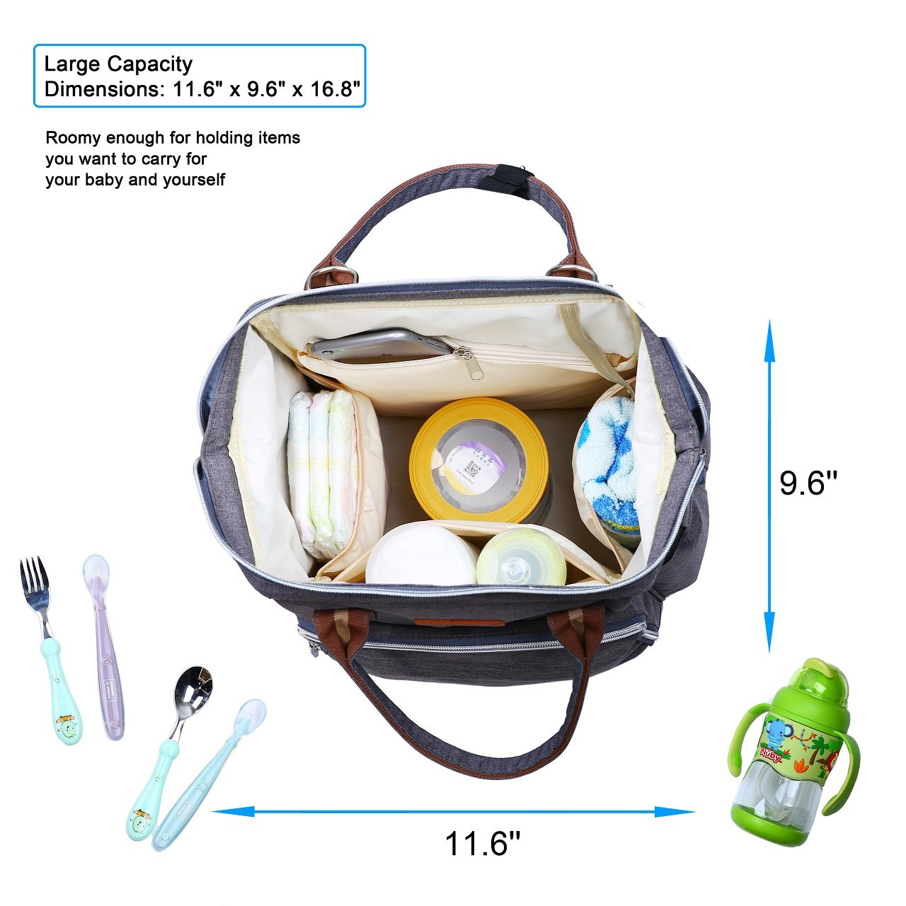 Large Capacity Aipper Diaper Bag Backpack,Multi-Function Travel Back Pack Maternity Baby Nappy Changing Bags Gray Waterproof and Stylish