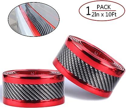 Car Accessories 5D Red DIY Sticker Carbon Fiber Rear Guard Bumper Anti Scratch