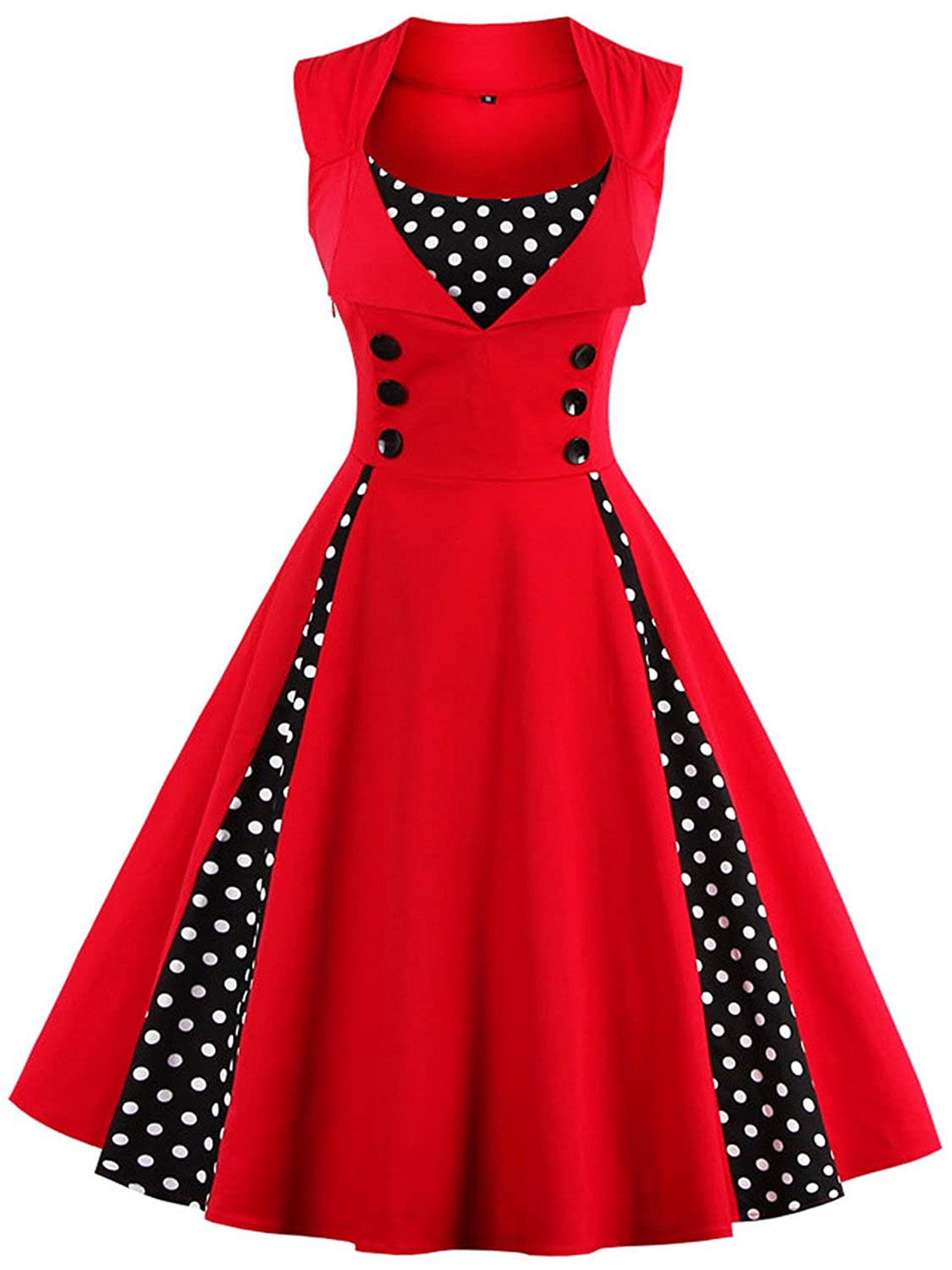 a01962b83a82 This short vintage rockabilly cocktail dress features delicate polka dot