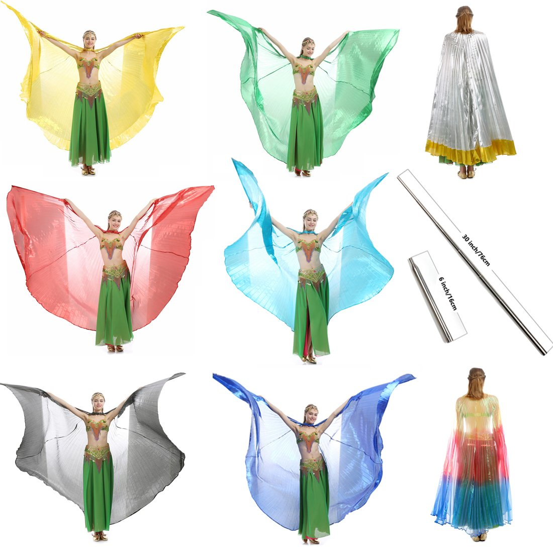 a5bb6f223fe Top1  iMucci 14 Colors Belly Dance Wing Rods–360 Degree Isis Angel Wings  Portable Telescopic Sticks Adults Child