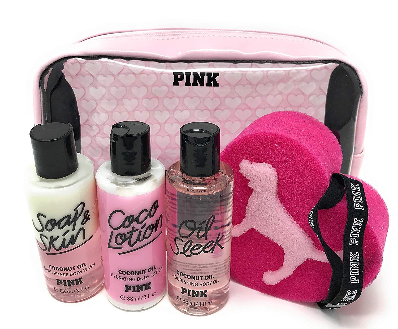 Victoria's Secret PINK Coconut Oil 5 pc Gift Set - Wash, Lotion, Oil, Sponge, Beauty Bag