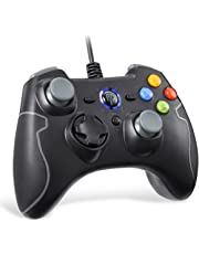 Wired Gaming Controller, EasySMX PC Game Controller Joystick with Dual-Vibration Turbo and Trigger Buttons for Windows/Android/ PS3/ TV Box (Gray)