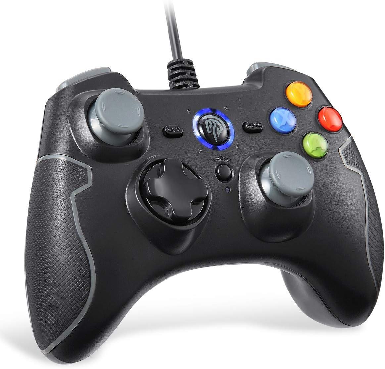 EasySMX Controlador de Juego con Cable, Vibracion Dual, USB Conexión, Función Turbo y Trigger, Gris