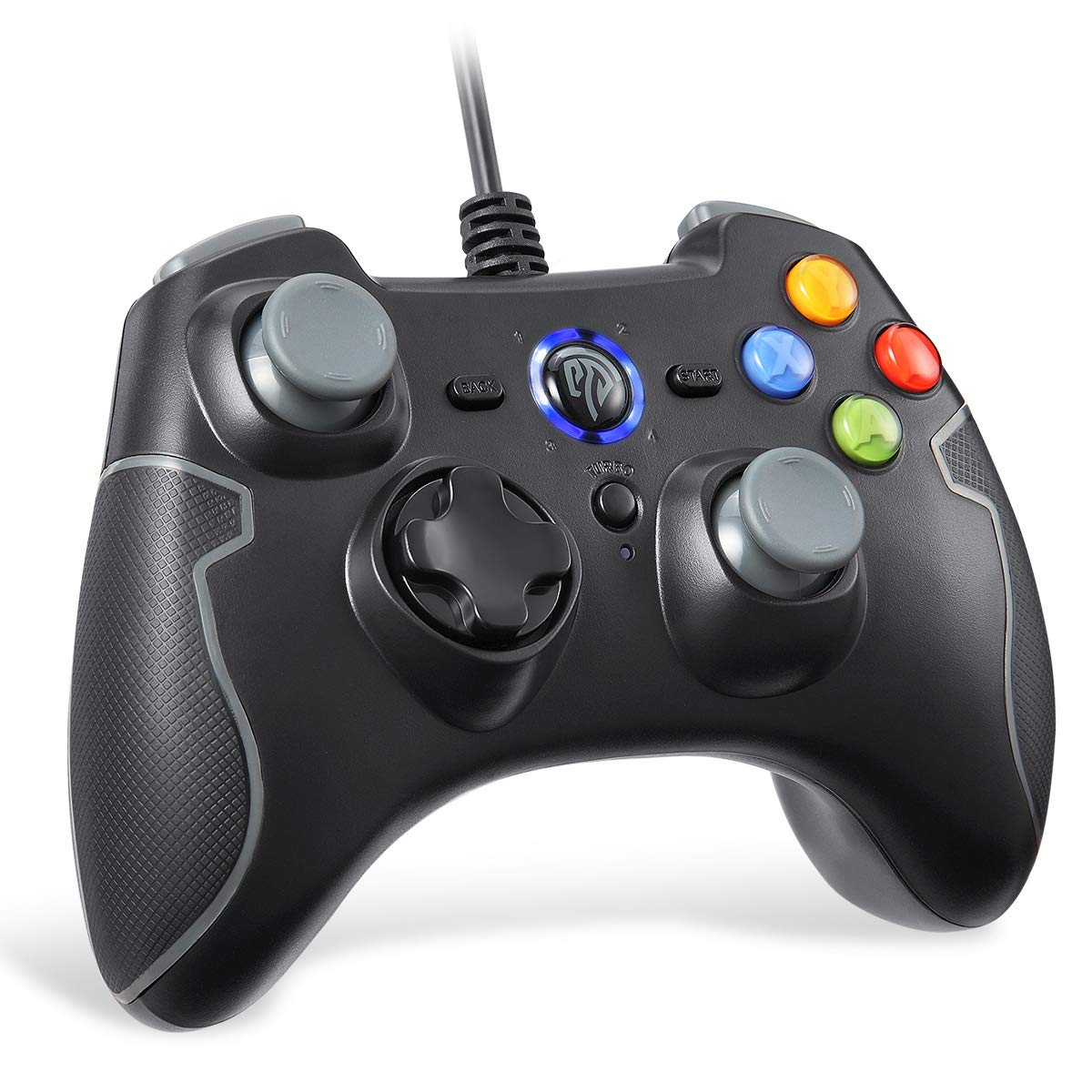 EasySMX Wired Gaming Controller, PC Game Controller Joystick with Dual-Vibration for Windows/Android/ PS3/ TV Box (Gray)