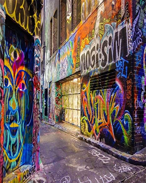 Aofoto Xft Street Graffiti Wall Photography Background Grunge Colorful City Alley Backdrop Fashion Party Decoration Punk