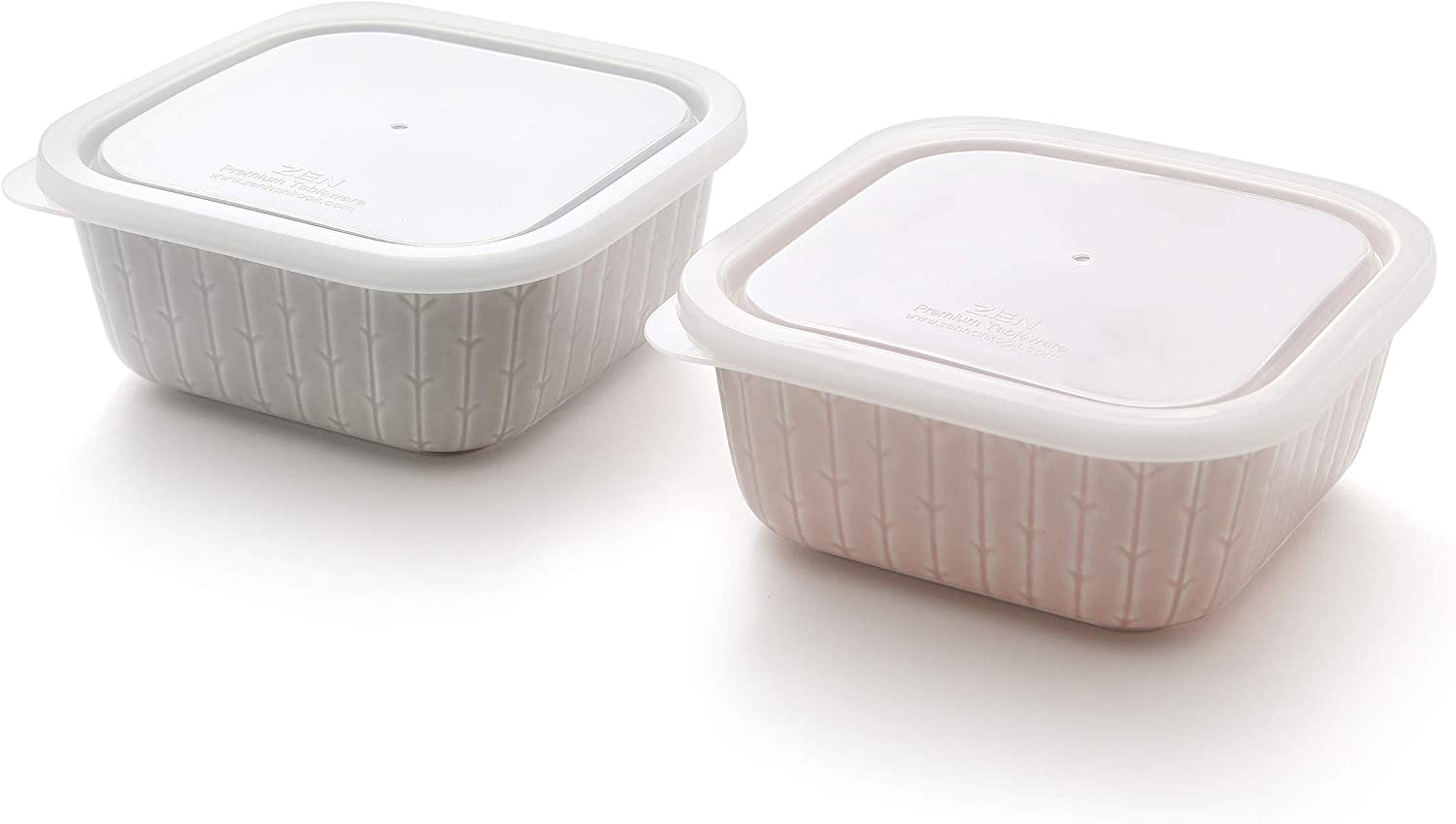 ZEN Color Glazed Forest Porcelain Serve and Store Airtight Container Set of 2, 16oz (SQUARE)