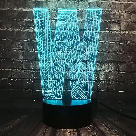 KangYD Lámpara de moda de la letra W 3D, luz de noche del ...