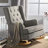 Levede Rocking Chair Armchair Nursing Chair Baby Feeding Lounge Sofa Fabric Grey