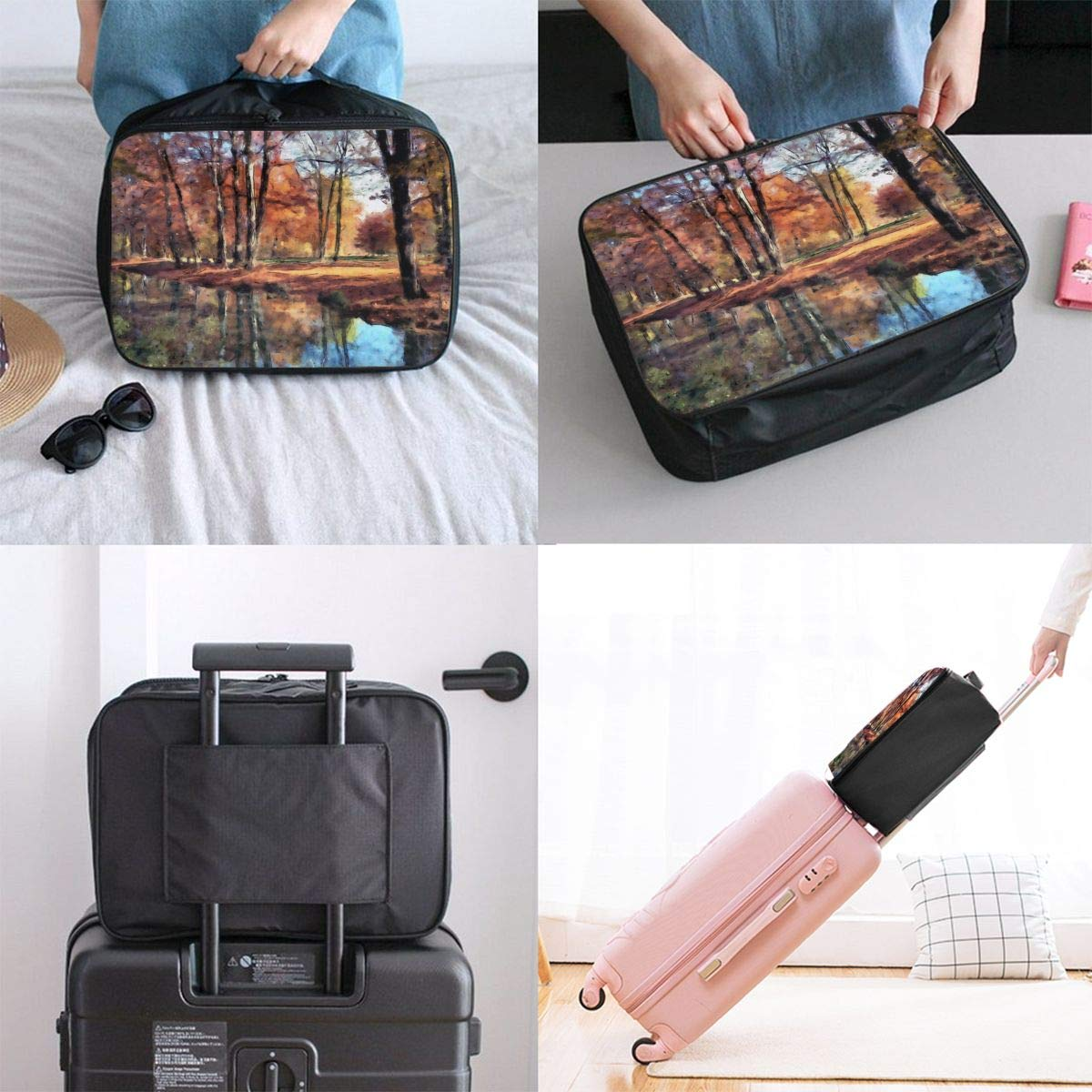 Autumn Bavaria Park Natural Tree Travel Lightweight Waterproof Foldable Storage Carry Luggage Large Capacity Portable Luggage Bag Duffel Bag