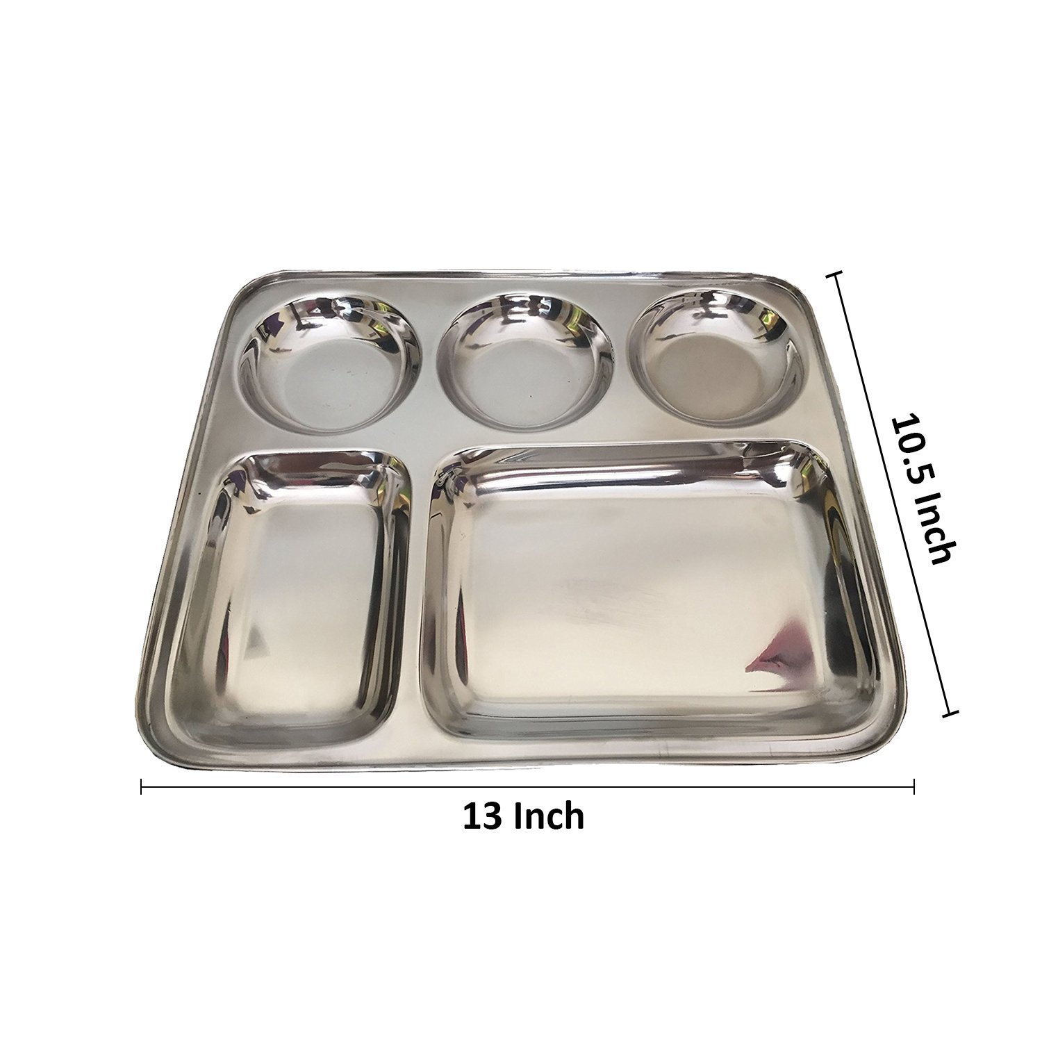 276fcd4b1d72 Stainless Steel Rectangular Thali Plate, 5 compartment Thali, Mess ...
