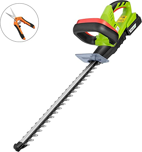 VIVOSUN 20V Cordless Hedge Trimmer 20 inches Blade Length Dual-Action Laser Blade Battery and Gardening Hand Pruner Included