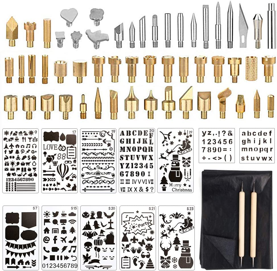 RuleaxAsi 57pcs Wood Burning Pen Tips Set Woodburning Tool Accessories with Stencils Transparent Box for Pyrography Pen Wood Embossing Carving DIY Crafts