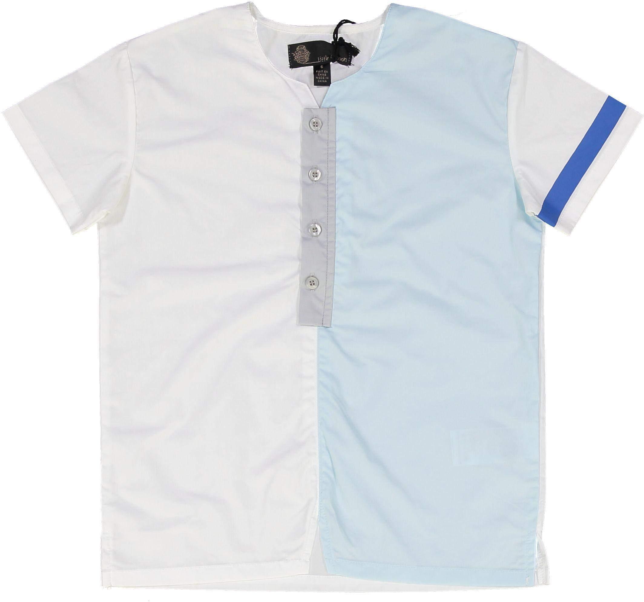 Little Cocoon Boys Short Sleeve Dress Shirt with No Collar - TD1918 - White/Light Blue, 2