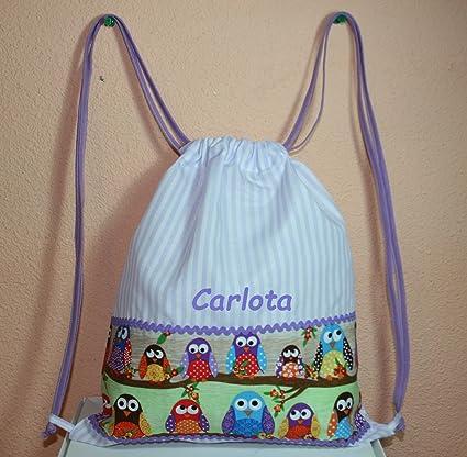 Bolsa mochila para niños/niñas, búos en tela vichy rayas morado-blanco personalizada con nombre (30 x 35 cm. aproximadamente): Amazon.es: Bebé