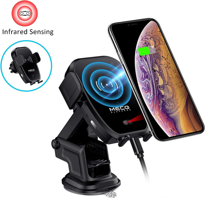 MECO ELEVERDE Cargador Inalámbrico Coche 10W QI Carga Rápida Cargador Soporte Móvil Detección Infrarroja QI Fast Wireless Car Charger para iPhone XS/XS Max/X/8/Más, Samsung Galaxy Note 9/S9/S8, etc