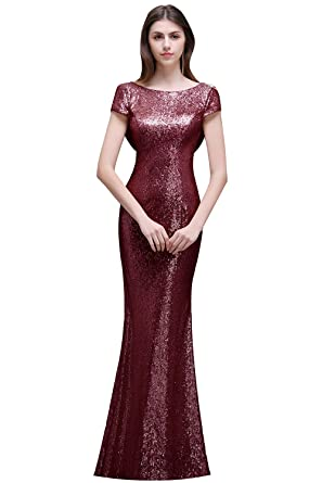 MisShow Women Rose Gold Long Sequins Bridesmaid Dress Prom/Evening ...