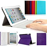 CoastaCloud iPad 2/3/4 Really Thin SmartShell Stand Cover with Magnetically Detachable Wireless Bluetooth Keyboard Case for Apple iPad 2 3 4 (Purple)