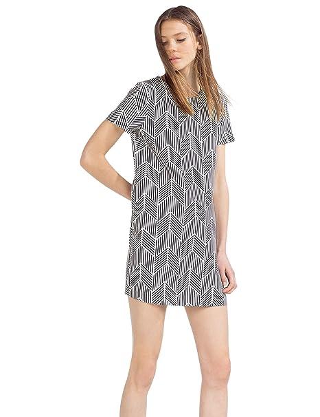Zara Vestido recto estampado, talla S
