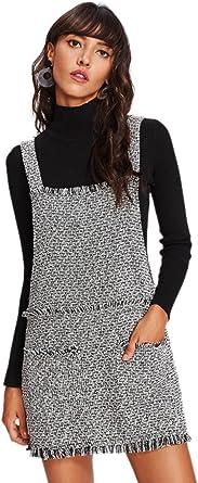 SOLY HUX Vestido Pichi Tweed con Detalle de Flecos - L: Amazon ...