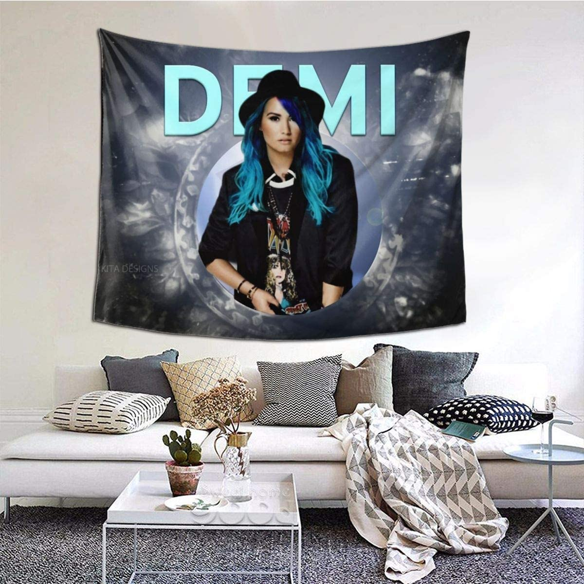 PaulineBeaton Demi Lovato Tapestry Colorful Tapestries Wall Decor Tapestry for Bedroom Living Room Dormitory, Window Curtain Picnic Mat,60×51 Inches