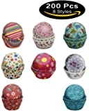 SophieBella 200-Count 8-Styles-Assorted Baking-Cups Muffin-Liners Style-C for Wedding Holiday Party