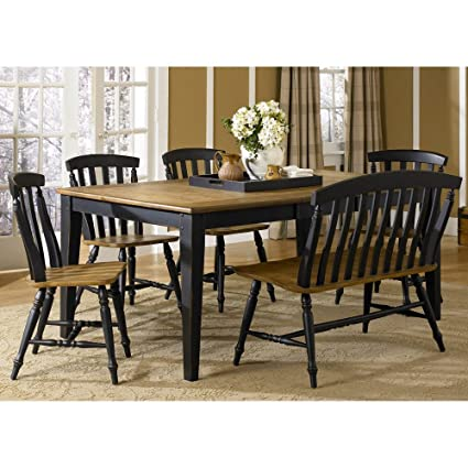 Liberty Furniture Al Fresco II Dining 6 Piece Rectangular Table Set,  Driftwood U0026 Black