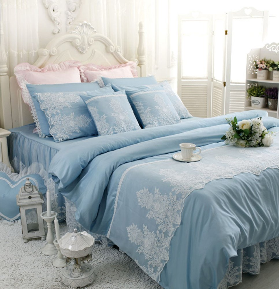 Abreeze White Ruffled Duvet Cover Sets Korean Princess Blue Bedding Girl Bedroom Sets Lace Design Twin 4PCS