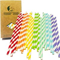 Party Decorations Rainbow Colorful Irised Drinking Paper Straws For Baby Shower, Birthdays, Wedding Ceremony