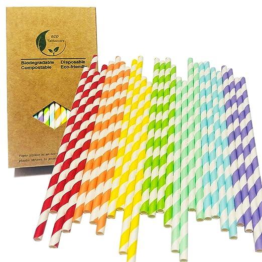 7 pajitas de papel arcoíris para decoración de dulces y ...
