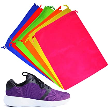 6 Bolsas de Almacenamiento con Cordón - Bolsa para Calzado, Fundas Zapatos - Colores Surtidos - Material Súper Suave - Confiable, Robusto y ...