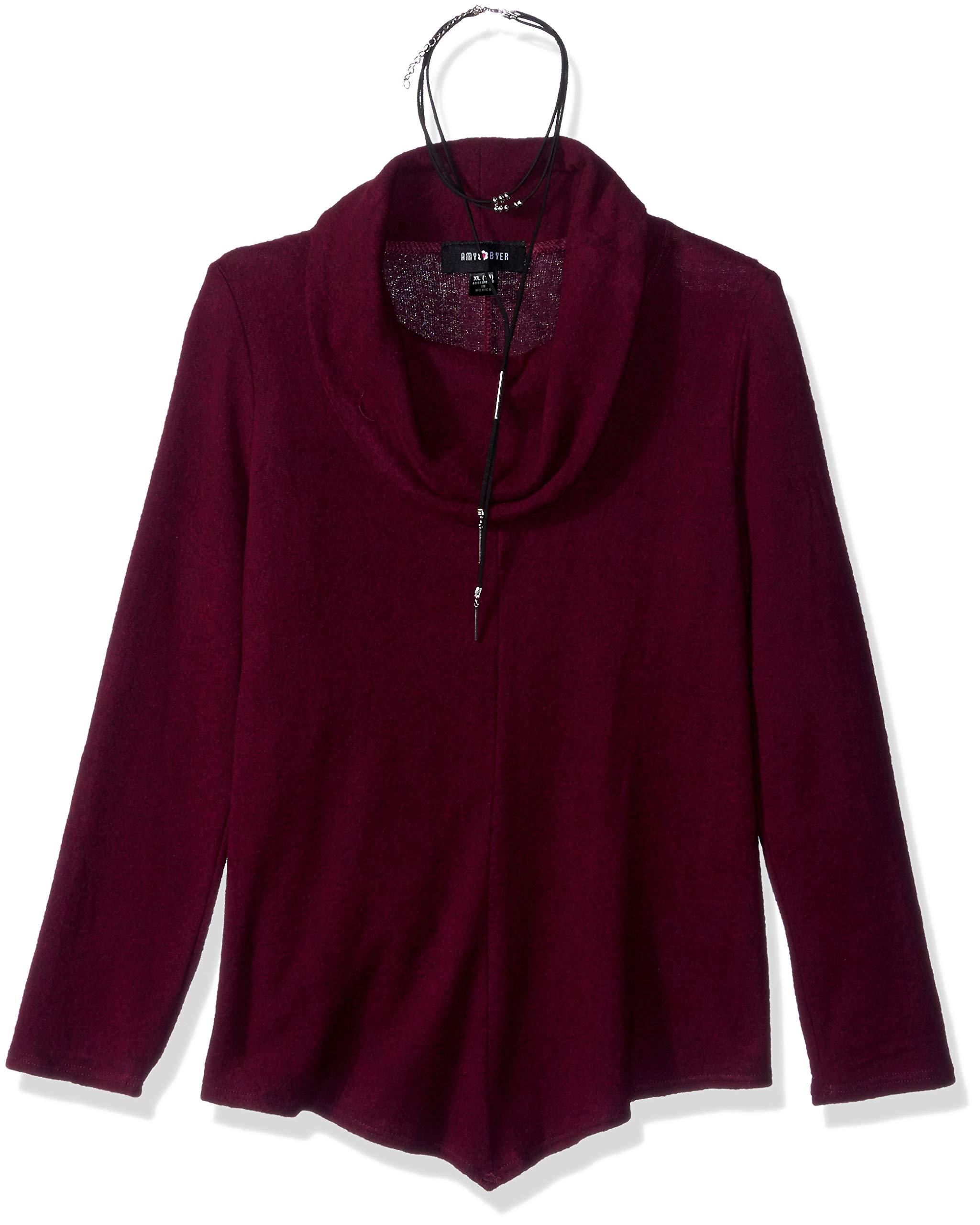 Amy Byer Girls' Big Long Sleeve Cowl Neck Tunic Sweater, Boho Plum, XL