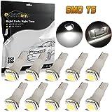 Partsam 10PCS T5 17 37 73 74 79 Wedge Instrument Panel LED Light Gauge Cluster Bulbs Dashboard Indicator Lamp for 1995-2012 Honda Odyssey, White