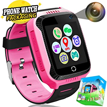 Kids Smartwatch Phone GPS Tracker con SOS Anti-perdida Call 1.44 Pantalla Táctil Camera Despertador Juego Smart Watch Juguetes de Aprendizaje ...