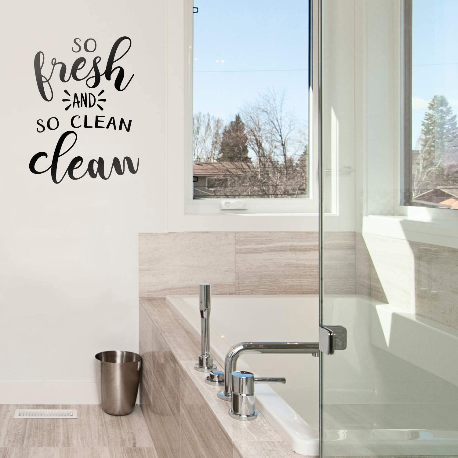 """Vinyl Wall Art Decal - So Fresh and So Clean - 25"""" x 18"""" - Fun Modern Inspirational Funny Quote Sticker for Home Bedroom Office Bathroom Store School Restroom Decor"""