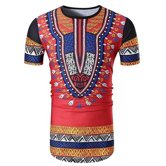 Camiseta Hombre,Longra ☆ Jersey O-Cuello Africano Pullover Verano Casual Camiseta de Manga