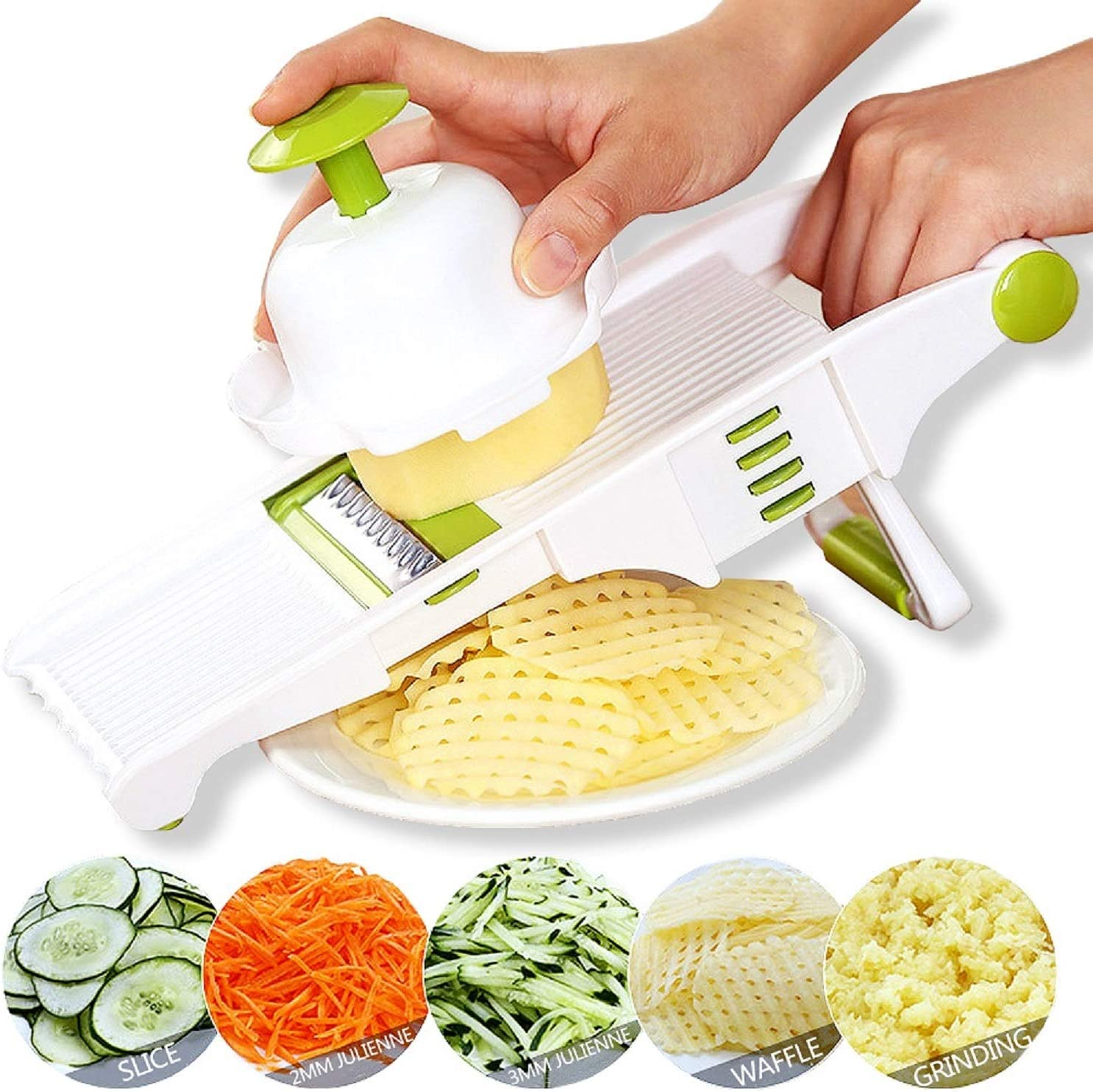 Amazon Com Gprome Mandoline Slicer Vegetable Mandolin Fruit Zucchini Slicer French Fry Cutter Food Waffle Julienne Grater Sharp Stainless Steel Blades Kitchen Dining