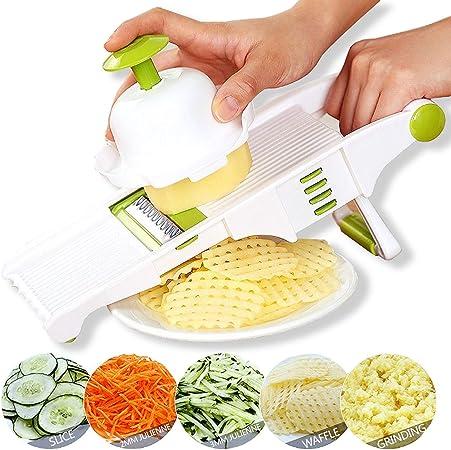 Cortador Manual de Acero Inoxidable Rallador de Verduras Julienne Slicer Fruit Waffle Kitchen Cortador de Papas Mandoline Slicer Blanco