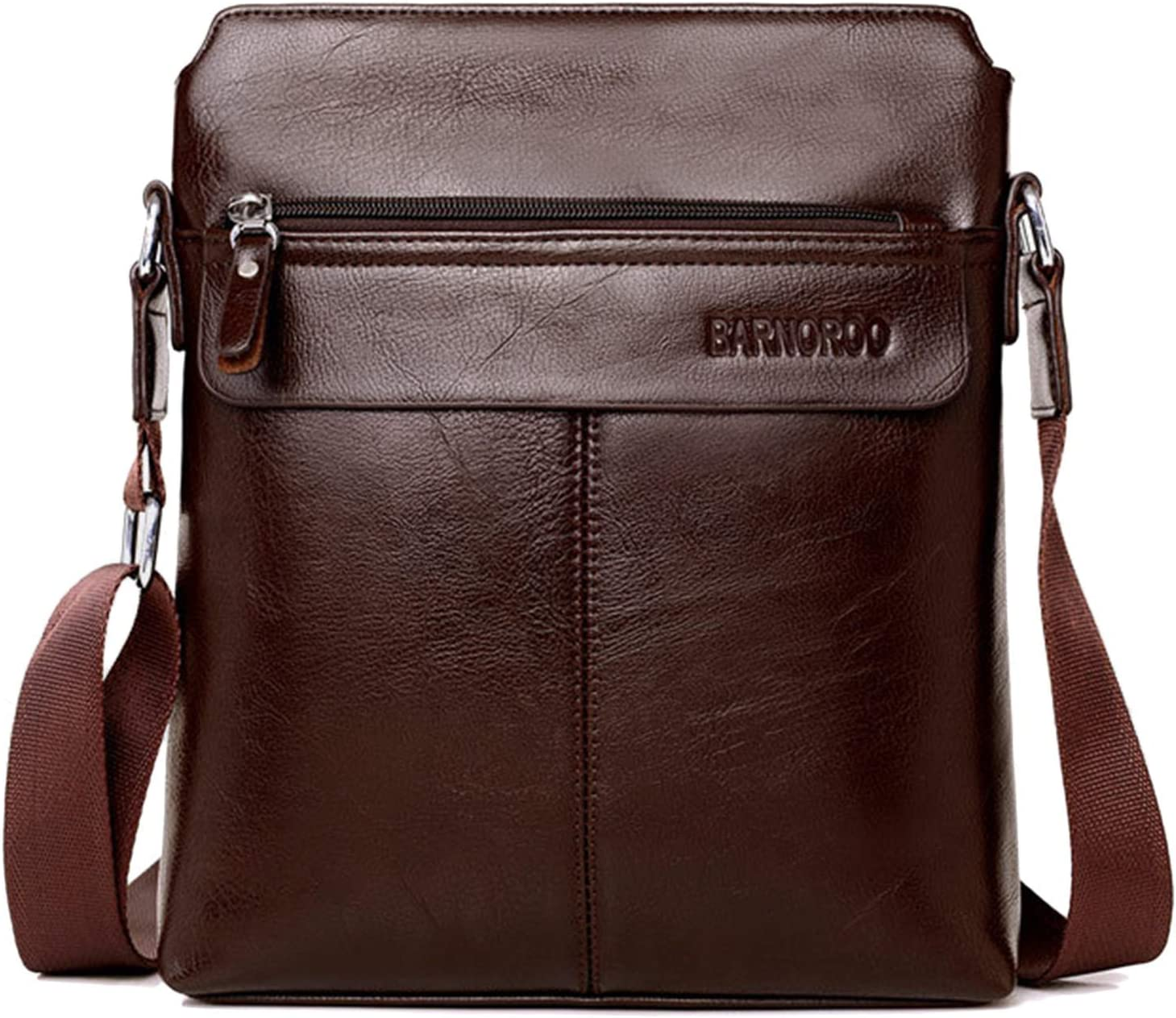 Mens Leather Shoulder Bag Messenger Briefcase CrossBody Satchel Office Work Bag Fits iPad 9.7 inch Tablets Brown