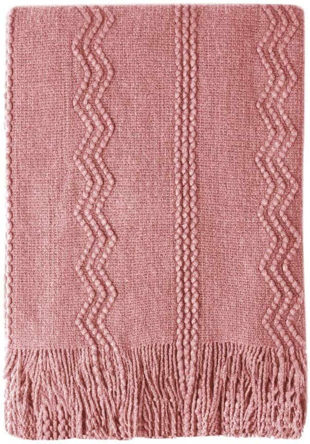 """Bourina Textured Solid Soft Sofa Throw Couch Cover Knitted Decorative Blanket, 50"""" x 60"""",Coral Pink"""