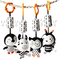 TUMAMA Black and White Baby Toys for 3 6 9 12 Months,Plush Hanging Rattles,Newborn Stroller Toys for Boys and Girls,4…