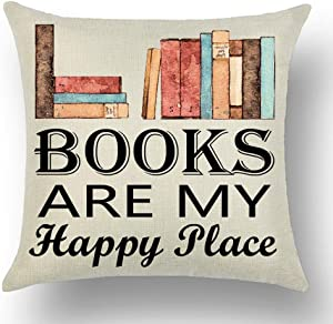 WePurchase Watercolor Books Black Font Word Art Books are My Happy Place Quote Decoration Cotton Linen Decorative Home Sofa Living Room Throw Pillow Case Cushion Cover Square 18x18 Inches