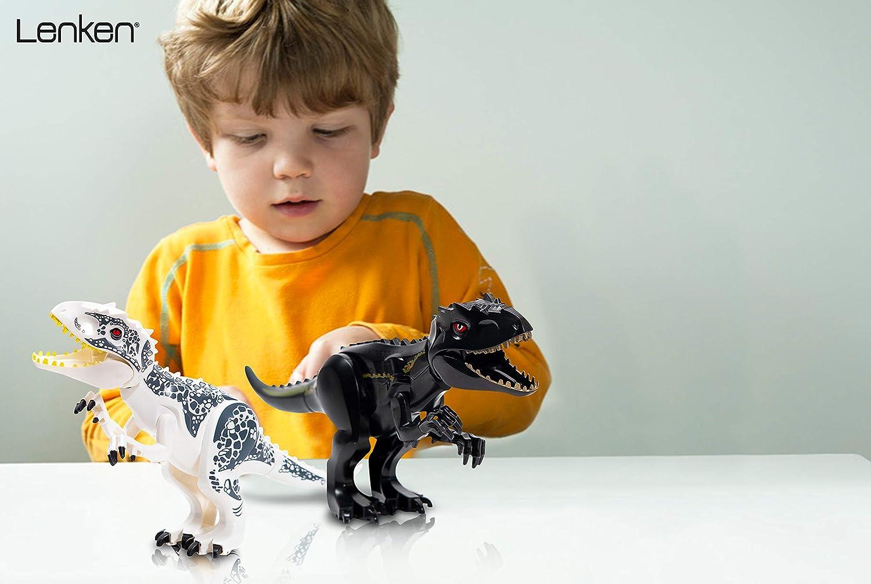 Lenken Large White Jurassic T-Rex Dinosaur Building Blocks Figure for Boys and Girls 11.2x6.7 Awesome Plastic Dinosaur Figure with Sticker Sheet Included!