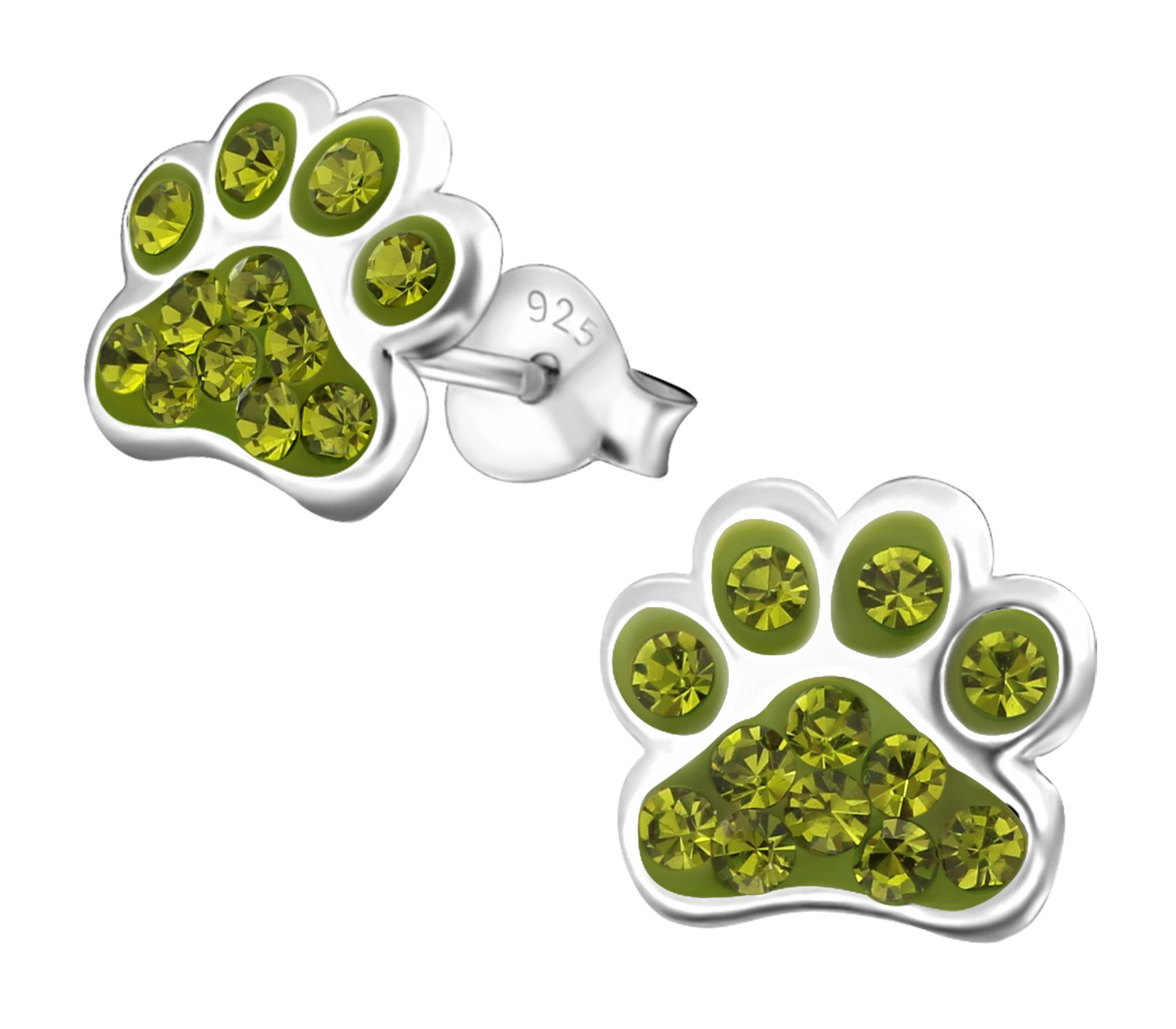 Best Wing Jewelry .925 Sterling Silver''Paw Print/w Crystals'' Children's Stud Earrings (Green Olivine) by Best Wing Children's Earrings (Image #1)